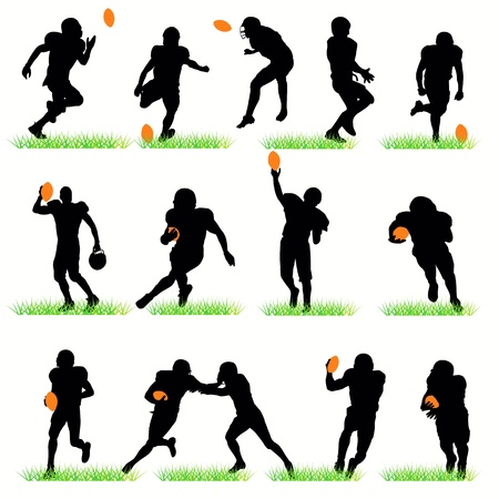 American football silhouettes set