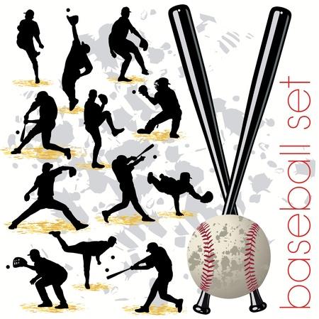 Baseball silhouettes set 01
