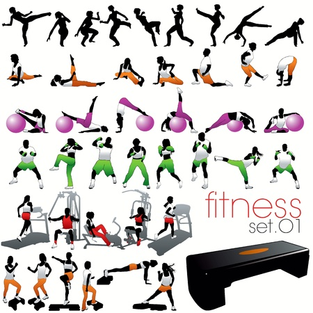 Photo for Fitness silhouettes set - Royalty Free Image