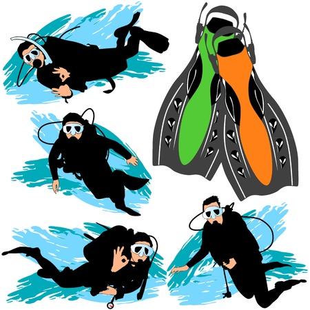 Scuba diving silhouettes set