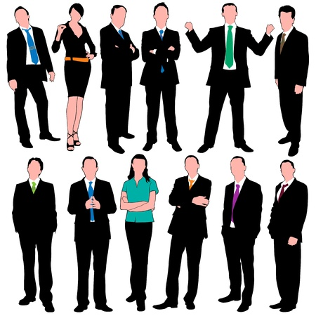 12 business people silhouettes