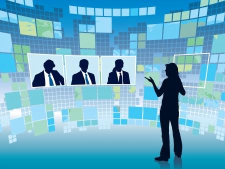 Illustration pour Business meeting in a virtual space, conceptual business illustration. - image libre de droit