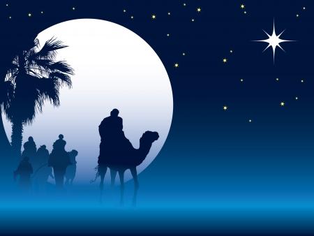 Illustration pour Nativity scene with wise men on camels going through the desert - image libre de droit