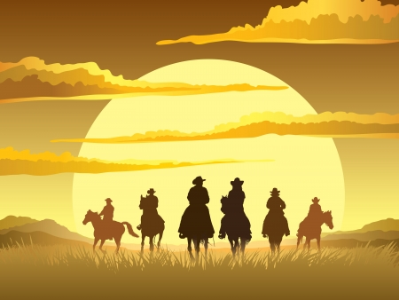 Illustration pour Team of cowboys silhouette galloping against a sunset background - image libre de droit