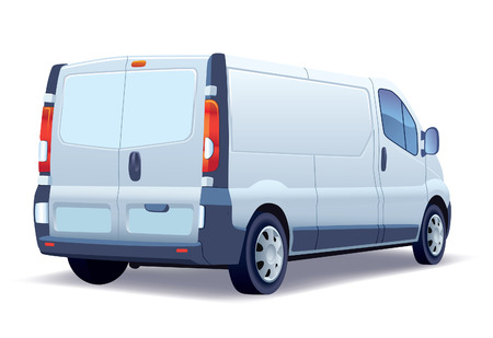 White commercial vehicle - delivery van on white background.