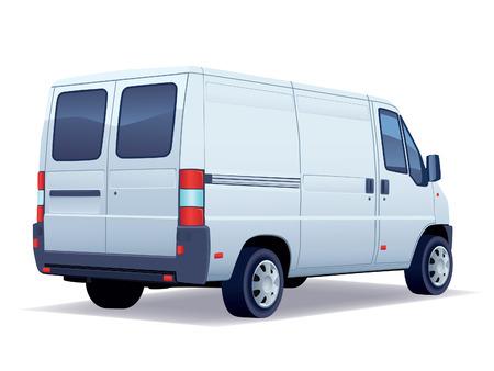 Foto de Commercial vehicle - delivery van on white background. - Imagen libre de derechos