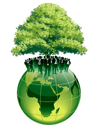 Illustration for Businesspeople are standing on a large world globe, under a big green tree - Royalty Free Image