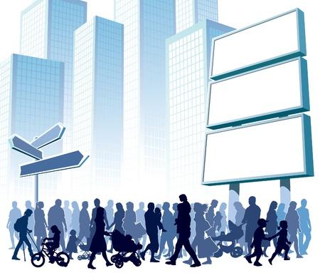 Illustration pour Crowd of people walking on a street. - image libre de droit