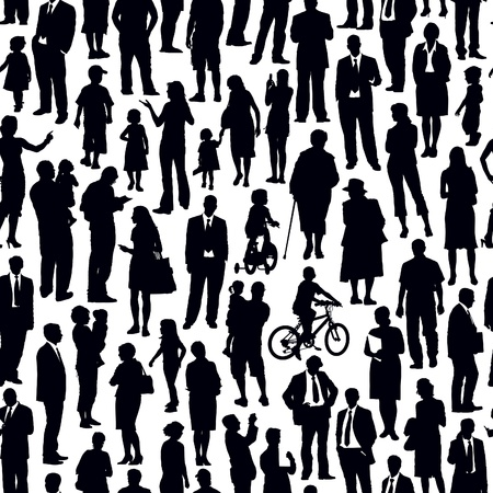Illustration pour Pattern - crowd of people walking on a street. - image libre de droit