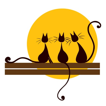 Illustration pour Three black cats sitting on board and looking at sun - image libre de droit