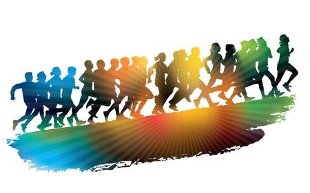 Ilustración de Crowd of young people running. Sport illustration. - Imagen libre de derechos