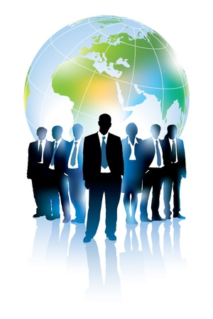 Illustration pour Businesspeople are standing in front of large world map.  - image libre de droit