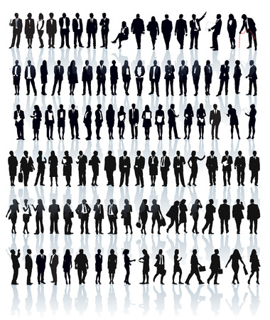 Illustration pour Large set of people silhouettes. Businesspeople; men and women. - image libre de droit
