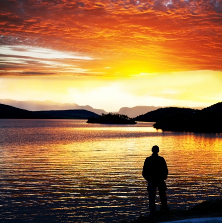Sunset scene on lake