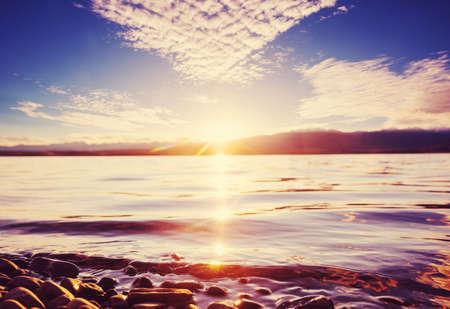 Photo pour Sunset scene on the lake at sunset autumn nature landscapes - image libre de droit