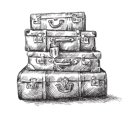 Illustration pour Sketch drawing of luggage bags - image libre de droit