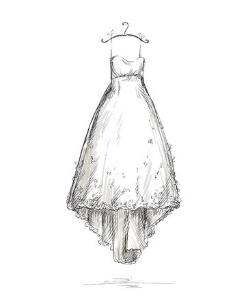 Ilustración de Wedding dress on a hanger - Imagen libre de derechos