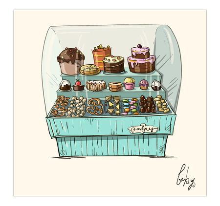 Hand drawn counter with bakery  Shopwindow with pastry illustration