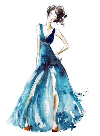 Blue dress fashion illustration, vector EPS 10