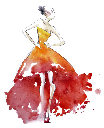 Ilustración de Red dress fashion illustration, vector EPS 10 - Imagen libre de derechos