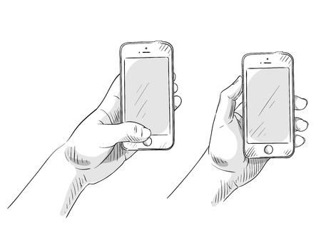 hand holding phone, hand drawn, vector illustration