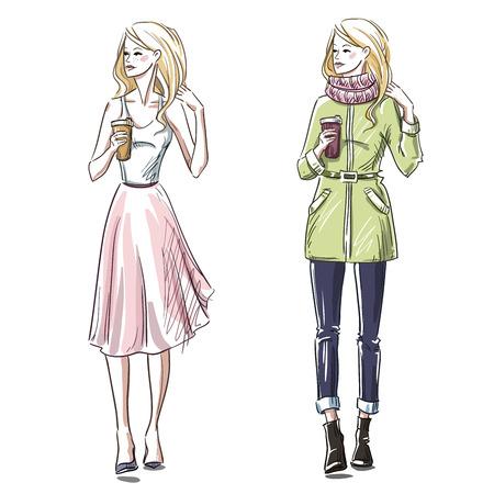 Ilustración de Fashion illustration. Winter and summer look. Street style. - Imagen libre de derechos
