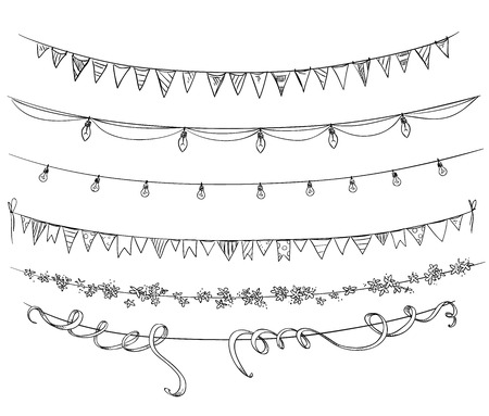 Illustration for Set of decorations. Flags and lights. - Royalty Free Image
