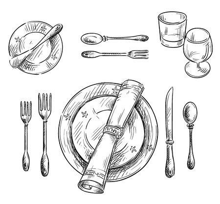 Illustration for Table setting. - Royalty Free Image