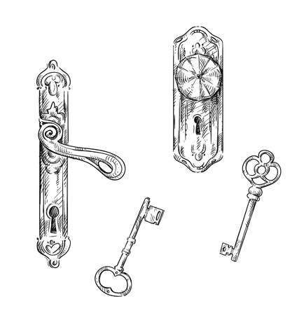 Illustration pour Door handles and keys - image libre de droit