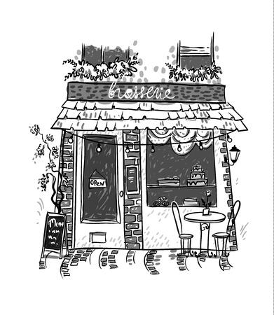 Illustration pour Brasserie. Little cosy cafe. Vector sketch - image libre de droit