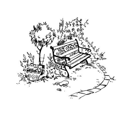 Ilustración de Cozy garden corner. Bench. Vector sketch - Imagen libre de derechos