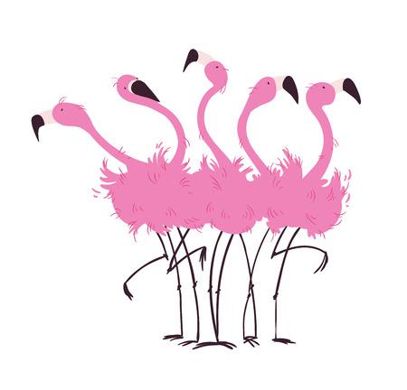 Illustration pour Flock of flamingos - image libre de droit