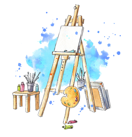 Photo pour Watercolor easel at the studio - image libre de droit