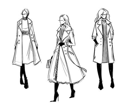 Ilustración de Winter look. Fashion illustration - Imagen libre de derechos