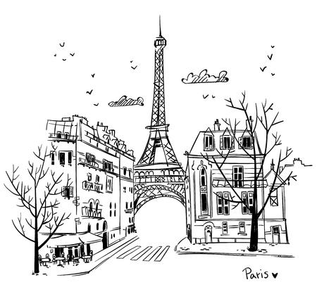 Illustration pour Paris streets sketch - image libre de droit