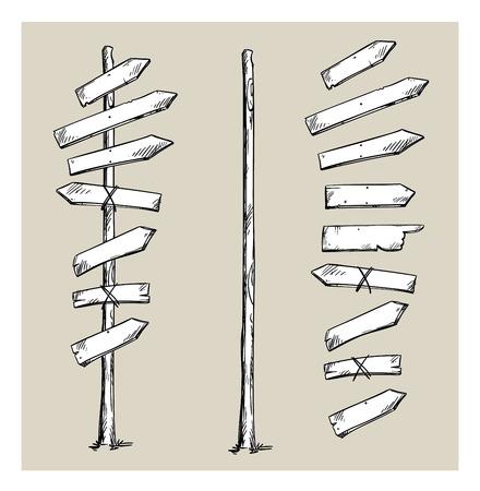 Illustration pour Wooden signpost with arrows - image libre de droit