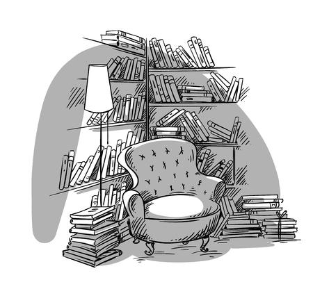 Illustration pour Reading nook, cozy room with bookshelves, vector illustration - image libre de droit