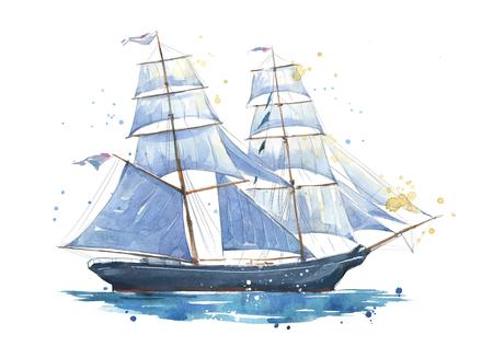 Foto de Sailing ship, watercolor painted illustration - Imagen libre de derechos