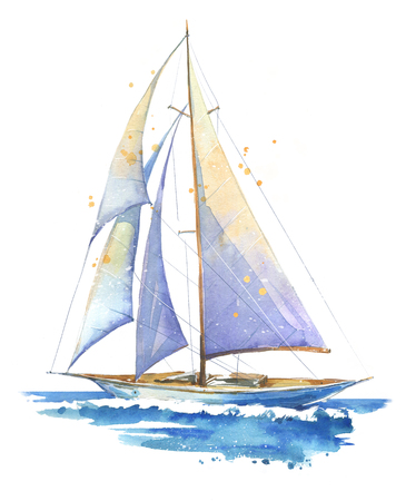 Foto de Sailing boat, watercolor painted illustration - Imagen libre de derechos