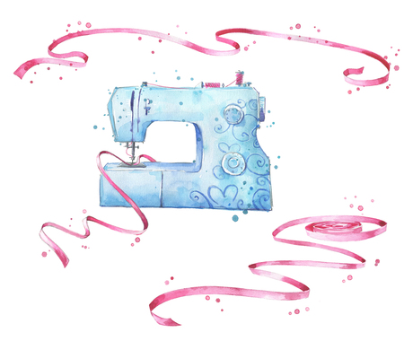 Photo for Sewing machine and ribbons watercolor illustration - Royalty Free Image