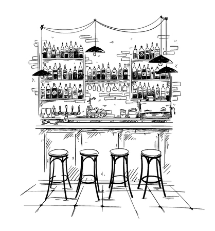 Illustration pour Bar interior setting, vector black and white sketch - image libre de droit