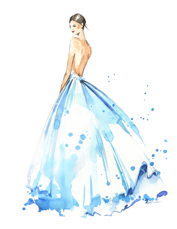 Photo pour Young woman wearing long evening dress, bride. Watercolor illustration, hand painted - image libre de droit