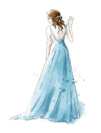Photo pour Bride. Young girl in a long dress, rear view, watercolor style - image libre de droit