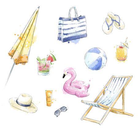 Photo pour Set of colorful beach accessories. Beach clipart. - image libre de droit