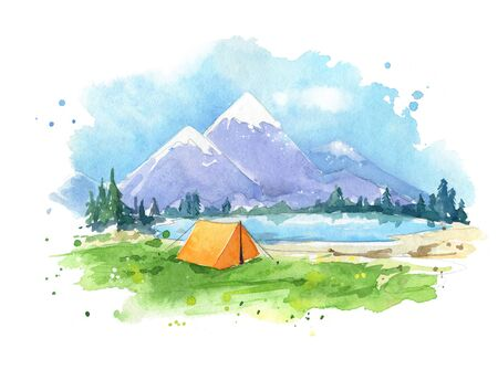 Watercolor painting of a camping site by the lake