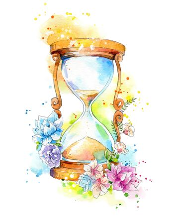 Photo pour Hourglass decorated with flowers, watercolor painting - image libre de droit