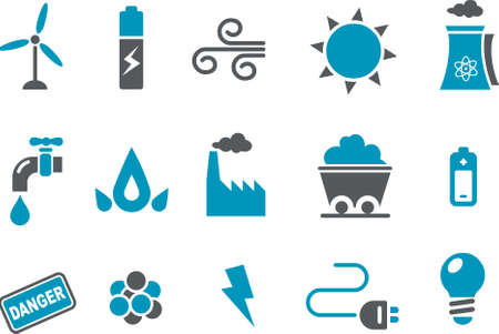 Energy Icon Set - Vector icons pack - Blue Series