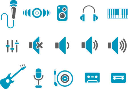 Music Icon Set - Vector icons pack - Blue Series