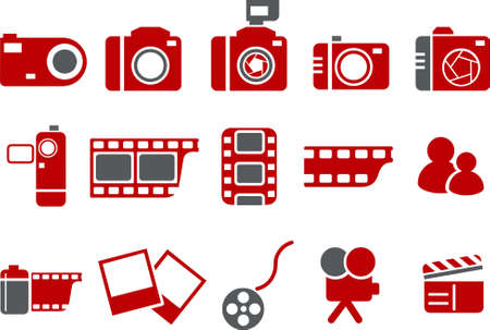 Vector icons pack - Red Series, photo collection