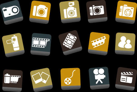 Vector icons pack - Yellow-Brown-Blue Series, photo collection